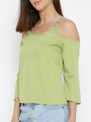 olive green solid cold shoulder top - 15034248 - Standard Image - 2