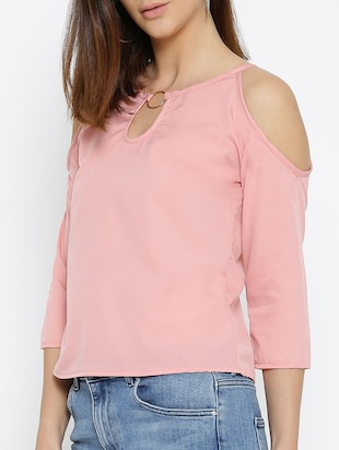 pink solid cold shoulder top - 15034264 - Standard Image - 2