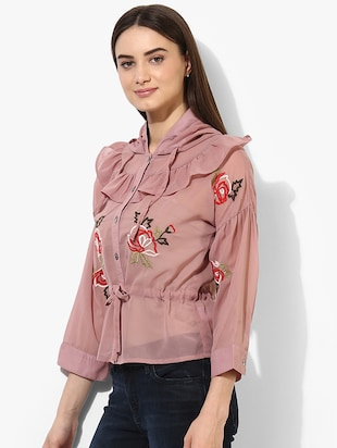 pink cotton embroidered shirt - 15036107 - Standard Image - 2