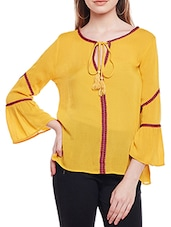 solid yellow viscose top -  online shopping for Tops