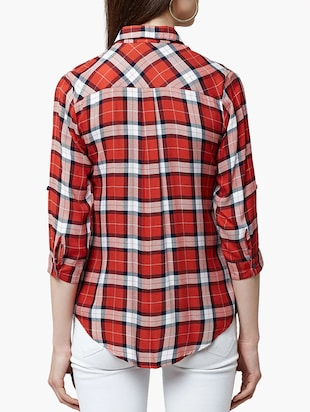 red viscose checkered shirt - 15047056 - Standard Image - 2