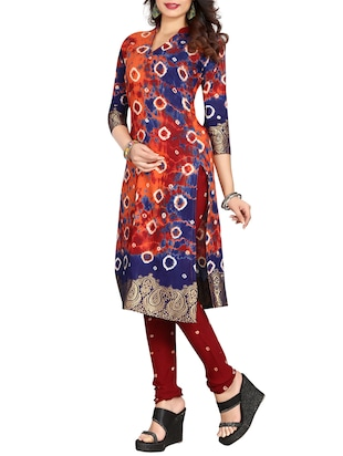 multi colored bandhani unstitched churidaar suit - 15047351 - Standard Image - 2