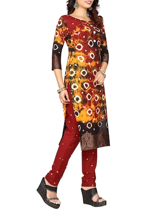 multi colored bandhani straight pant suit - 15047352 - Standard Image - 2
