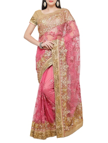 7c739322a8a63f Buy Brown And Pink Pure Tussar Silk Saree for Women from Cbazaar for ...