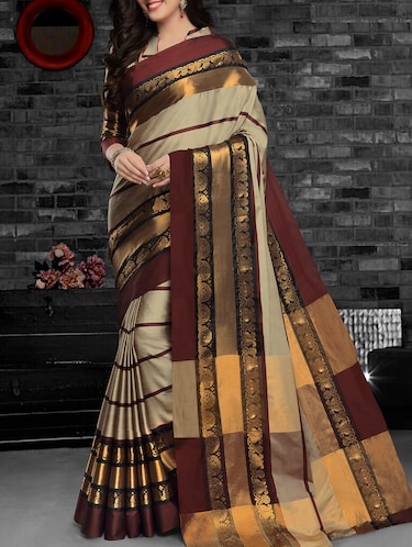 grey cotton silk woven saree with blouse - 15052476 - Standard Image - 1