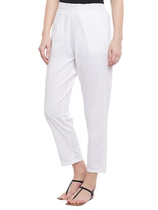 white solid cotton peg trouser - 15054072 - Standard Image - 2