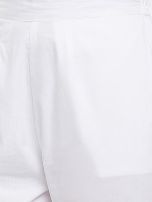 white solid cotton peg trouser - 15054072 - Standard Image - 5