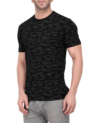 black cotton all over print tshirt - 15066723 - Standard Image - 2