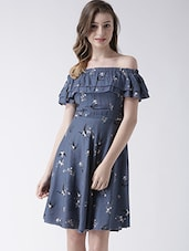 blue rayon off shoulder dress -  online shopping for Dresses