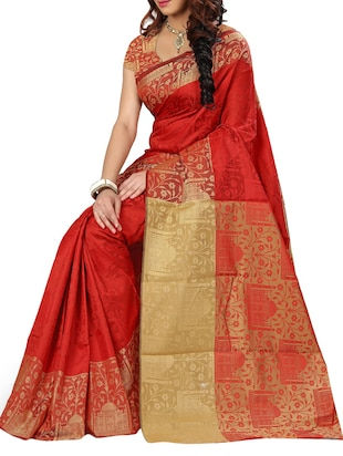 silk jacquard woven saree with blouse - 15076324 - Standard Image - 2