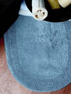 Blue Panel Oval Bath Mat - Laurel Home