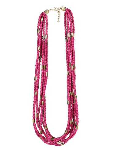 pink metal long necklace - 15078343 - Standard Image - 1