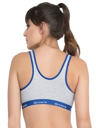 set of 3 grey solid hosery sports bra - 15082349 - Standard Image - 5