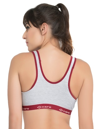 set of 3 grey solid hosery sports bra - 15082359 - Standard Image - 5