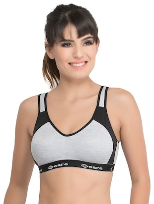 set of 3 grey solid hosery sports bra - 15082365 - Standard Image - 2