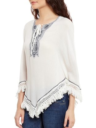 white cotton embroidered top - 15086407 - Standard Image - 2
