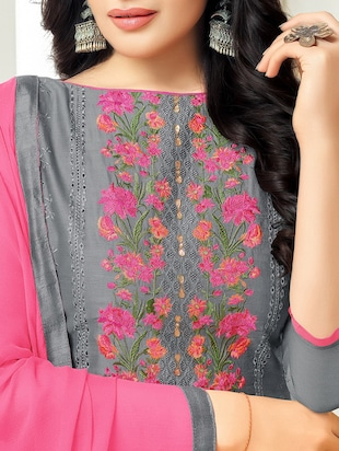 Grey cotton unstitched churidaar suit - 15086591 - Standard Image - 2