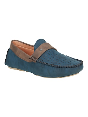 blue leatherette slip on loafer - online shopping for Loafers