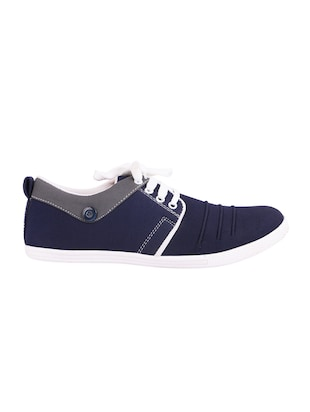 blue Canvas lace up sneaker - 15093977 - Standard Image - 2