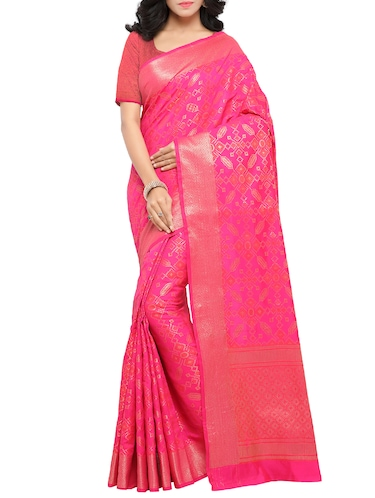 daa96f1eb89f19 Buy Pink Raw Silk Patola Saree With Blouse for Women from Shonaya ...