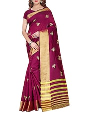 magenta cotton silk printed saree with blouse -  online shopping for Sarees