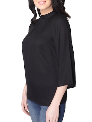 black solid rayon top - 15101707 - Standard Image - 2