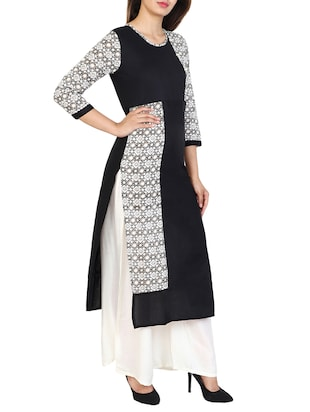 black cotton straight kurta - 15106247 - Standard Image - 2