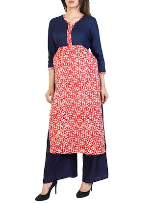 blue cotton straight kurta - 15106261 - Standard Image - 2
