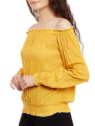 solid yellow cotton blouson top - 15108579 - Standard Image - 2