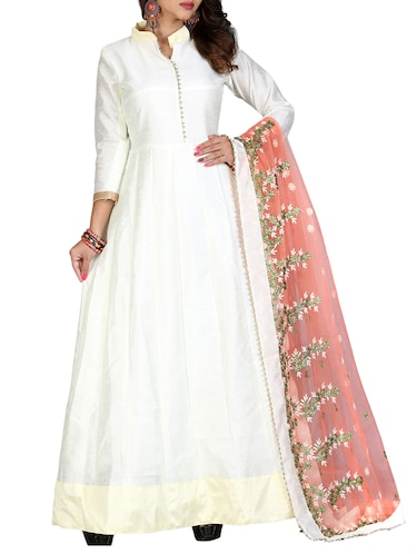 Embroidered semi-stitched anarkali suit - 15110178 - Standard Image - 1