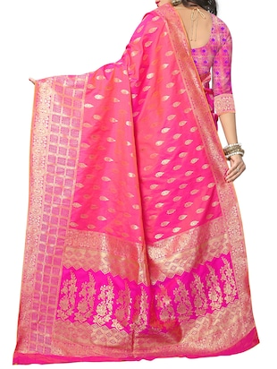 pink silk woven saree with blouse - 15110246 - Standard Image - 2