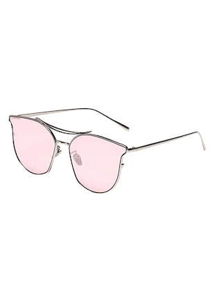 Cat-Eye Frames Round Sun-Glasses For Women Stylish Mirror - 15110852 - Standard Image - 2