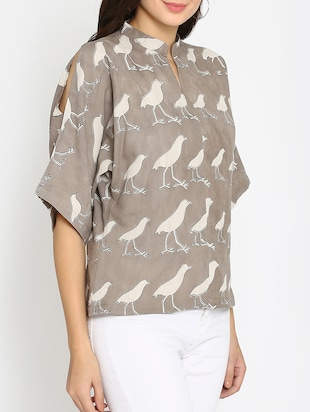 brown printed cotton top - 15111060 - Standard Image - 2