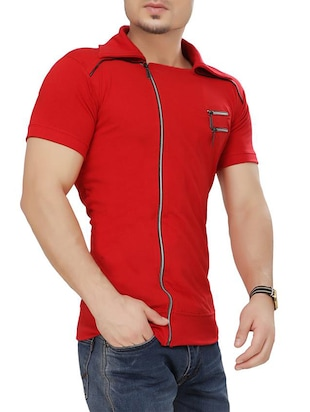 red cotton t-shirt - 15111364 - Standard Image - 2