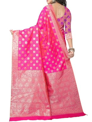pink silk woven saree with blouse - 15111682 - Standard Image - 2