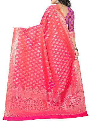pink silk woven saree with blouse - 15112185 - Standard Image - 2