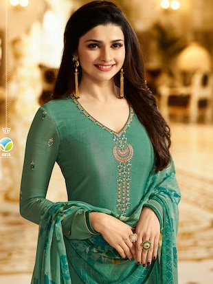 Green embroidered semi-stitched churidaar suit - 15113227 - Standard Image - 2
