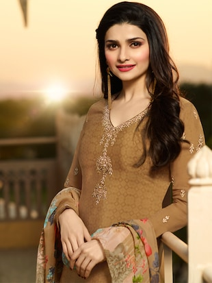 Brown embroidered semi-stitched churidaar suit - 15113228 - Standard Image - 2