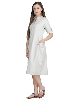 button detail a-line dress - 15113267 - Standard Image - 2