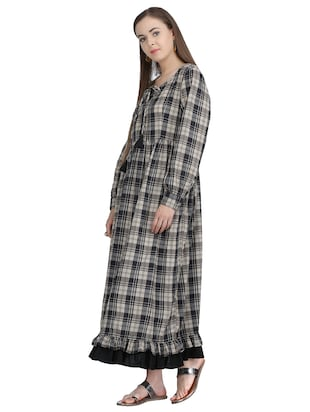 tie-up detail checkered maxi dress - 15113284 - Standard Image - 2