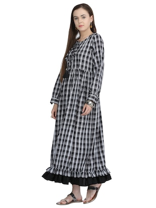 tie-up neck checkered maxi dress - 15113285 - Standard Image - 2