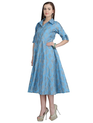 button down front flared dress - 15113287 - Standard Image - 2