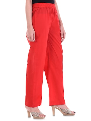 solid red cotton palazzo - 15113447 - Standard Image - 2