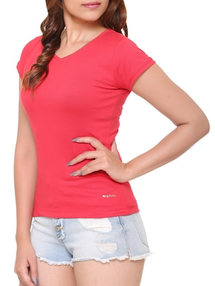 pink solid cotton tee - 15113456 - Standard Image - 2