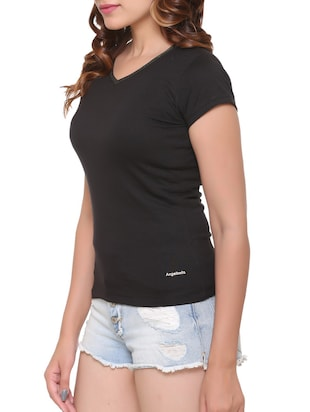 black solid cotton tee - 15113457 - Standard Image - 2