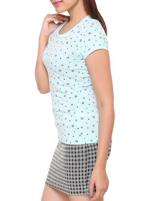 light blue printed cotton tee - 15113458 - Standard Image - 2