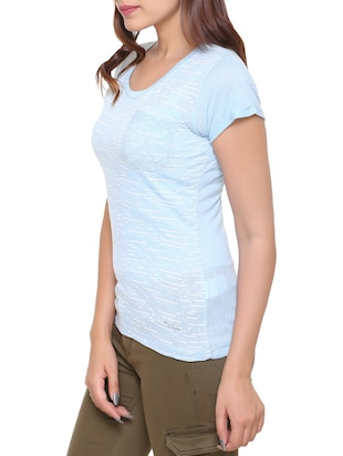 light blue printed cotton tee - 15113462 - Standard Image - 2