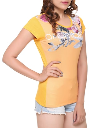 yellow printed cotton tee - 15113469 - Standard Image - 2