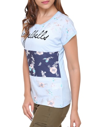 light blue printed cotton tee - 15113475 - Standard Image - 2