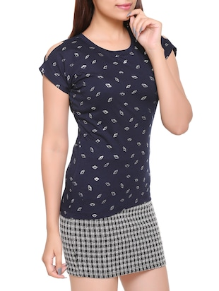 navy blue printed cotton tee - 15113483 - Standard Image - 2